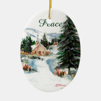 Country Church in Winter Watercolor Mountain Scene Christmas Tree Ornaments