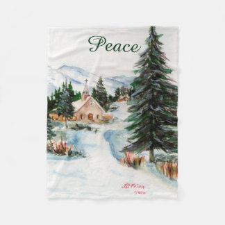 Country Church in Winter Watercolor Mountain Scene Fleece Blanket