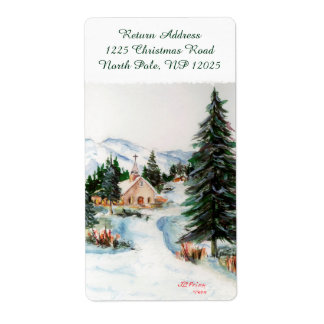 Country Church in Winter Watercolor Mountain Scene Shipping Label