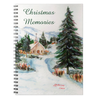 Country Church in Winter Watercolor Mountain Scene Spiral Note Book