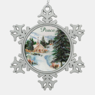 Country Church in Winter Watercolor Mountain Scene Pewter Snowflake Decoration