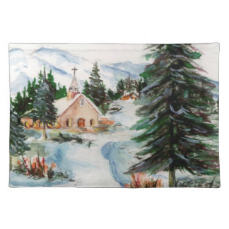 Country Church in Winter Watercolor Mountain Scene Cloth Placemat