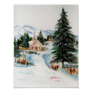 Country Church in Winter Watercolor Mountain Scene Posters