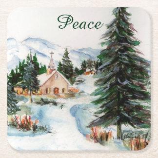 Country Church in Winter Watercolor Mountain Scene Square Paper Coaster