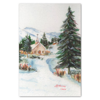Country Church in Winter Watercolor Mountain Scene Tissue Paper