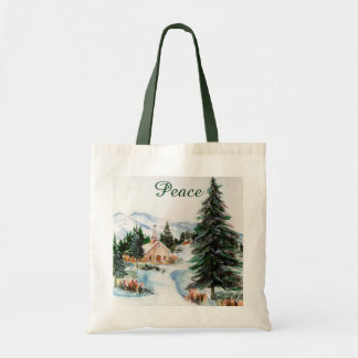 Country Church in Winter Watercolor Mountain Scene Canvas Bag