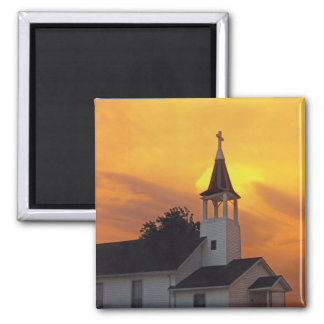 Country Church Square Magnet