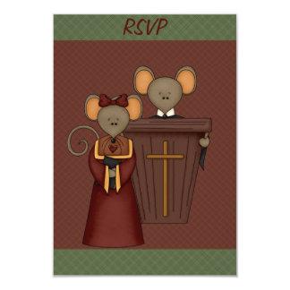Country Church Mice RSVP Cards 9 Cm X 13 Cm Invitation Card