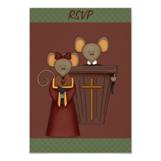 Country Church Mice RSVP Cards Announcement