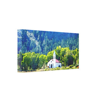 Country church painting stretched canvas print