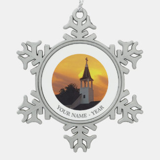Country Church Pewter Snowflake Decoration