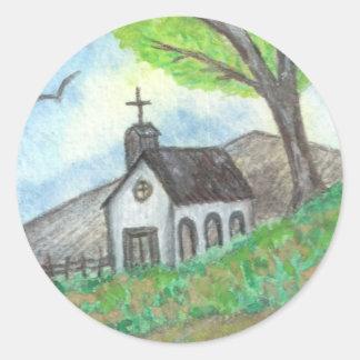Country Church Round Sticker