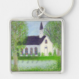 Country Church Silver-Colored Square Key Ring