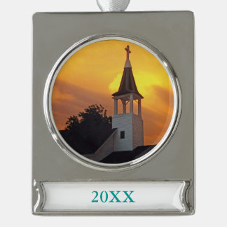 Country Church Silver Plated Banner Ornament