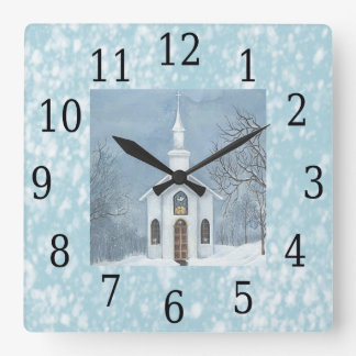 Country Church Snowing Christmas Wall Clock