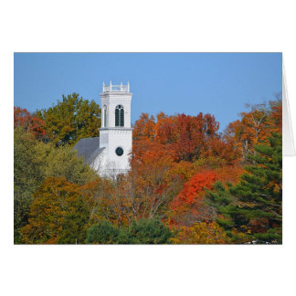 Country Church Steeple In Autumn Note Card