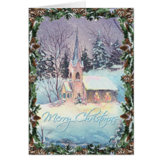 COUNTRY CHURCH & WREATH by SHARON SHARPE Greeting Cards