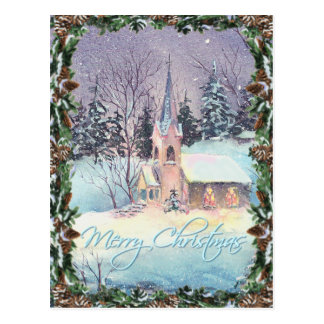 COUNTRY CHURCH & WREATH by SHARON SHARPE Postcards