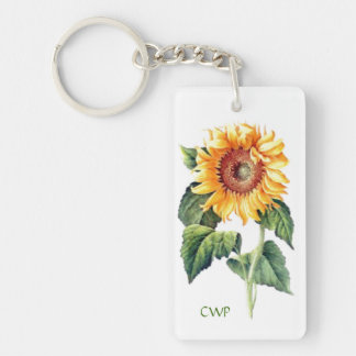 Country Cottage Garden Sunflower Optional Monogram Key Ring