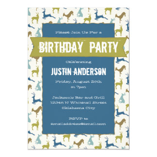 Country Deer Birthday Party Card