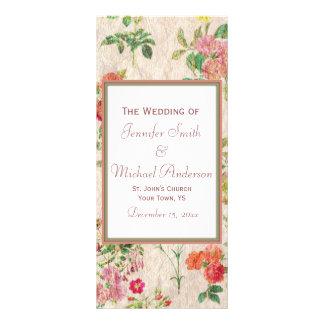 Country Floral Wedding Program Rack Card