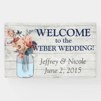 Country Floral Wood Mason Jar Wedding Banner
