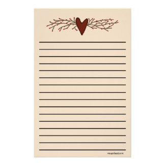 Country Heart Thick Line Stationery