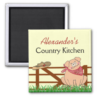 Country Kitchen- Farm Pig Personalised Square Magnet