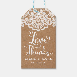 Country Kraft and Lace Wedding Favor Tag