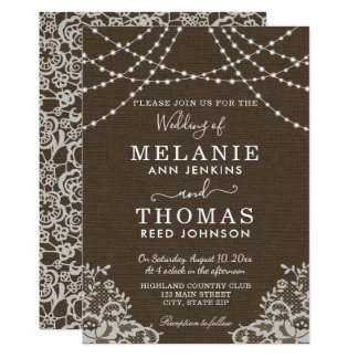 Country Lace and Burlap Wedding Invitation, Rustic Card