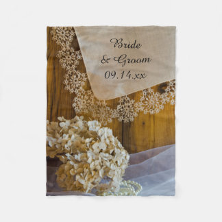 Country Lace and Flowers Wedding Fleece Blanket