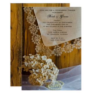 Country Lace Flowers Barn Wedding Rehearsal Dinner Card