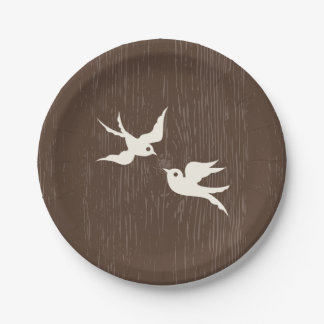 Country Lovebirds Doves Brown Wood Wedding 7 Inch Paper Plate