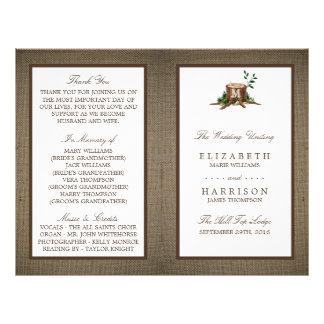 Country Monogram Tree & Burlap Wedding Program 21.5 Cm X 28 Cm Flyer