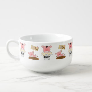 Country Pig cartoon soup mug