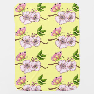Country Pink Butterfly Blossom Girl's Baby Blanket