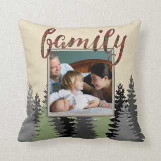 Country Plaid and Pine Family Photo Cushion