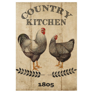 Country Rooster and Chicken home business wood Wood Poster