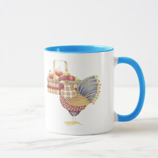 Country rooster and fresh fruit mug