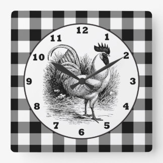 Country Rooster black white check clock