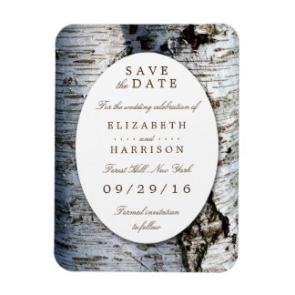 Country Rustic Birch Tree Wedding Save The Date Rectangular Photo Magnet