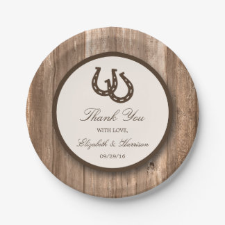 Country Rustic Horseshoe & Brown Wood Wedding Paper Plate