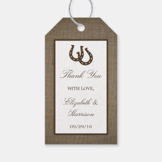 Country Rustic Horseshoe On Burlap Wedding Gift Tags
