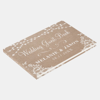Country Rustic Kraft and Lace Wedding Guest Book