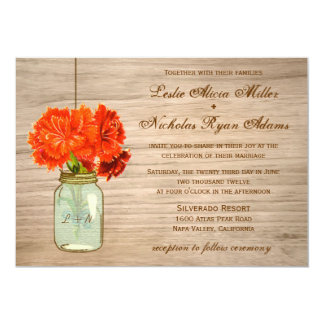 Country Rustic Mason Jar Flowers Wedding 13 Cm X 18 Cm Invitation Card