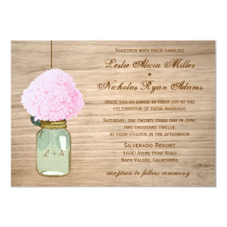 Country Rustic Mason Jar Hydrangea Wedding 13 Cm X 18 Cm Invitation Card