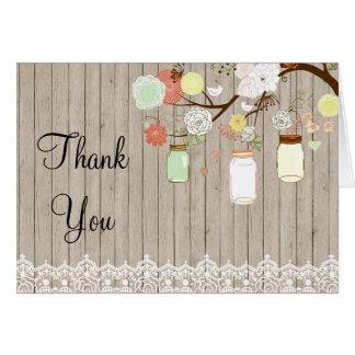 Country Rustic Mason Jar Thank You Card