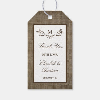 Country Rustic Monogram Branch & Burlap Wedding Gift Tags