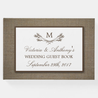 Country Rustic Monogram Branch & Burlap Wedding Guest Book