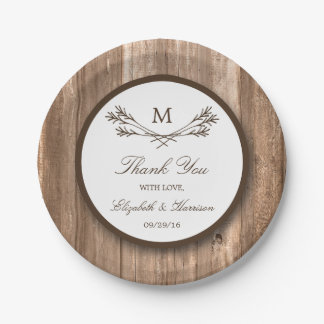 Country Rustic Monogram Branch & Wood Wedding 7 Inch Paper Plate